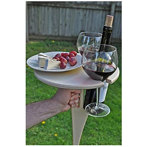 Outdoor Folding Wine Table, Mesa de Vino Plegable al Aire Libre, Soporte portátil para Vino de Mesa de Picnic, Wine Glass Rack, Collapsible Table para Al Aire Libre, jardín, Viajes (A)
