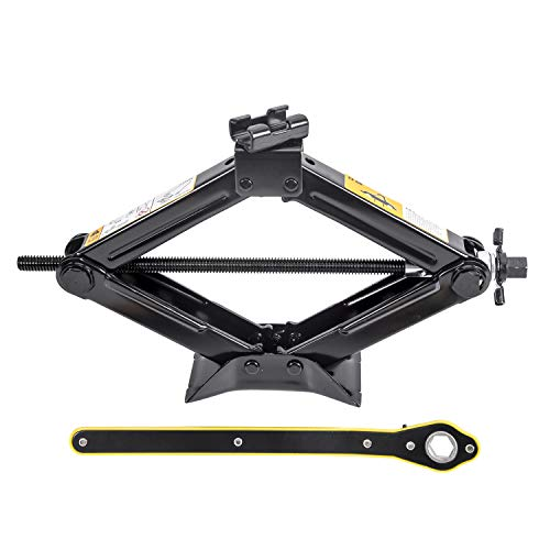 LEADBRAND Scissor Jack 1.5 Tons(3,307 lbs) Capacity Ratchet Handle Saving Strength Design…