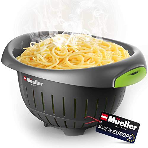 European Made Colander/Strainer Heavy Duty Deep for Draining Pasta Lettuce Vegetables and Fruit Dishwasher Safe Grey