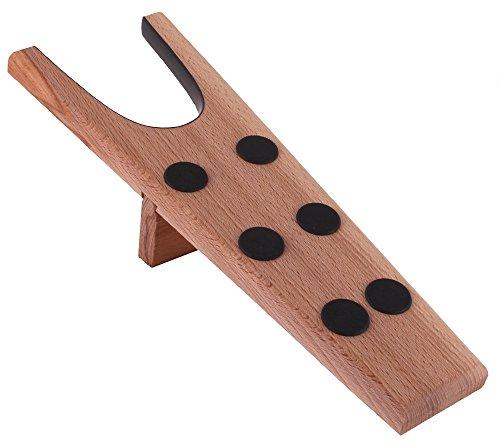 DELFA Descalzador hecho de madera de haya sin tratar, 6 chapas antideslizantes, hecho en Alemania