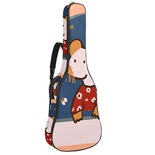 Funda impermeable para guitarra, diseño de ratón de dibujos animados, color naranja
