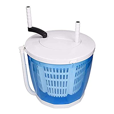 TOPQSC 2-in-1 Mini Portable Manual Washing Machine and Spin Dryer - Holds up to 3kg Underwear Panties Socks - Hand Cranked Non-Electric Washer/Dryer for Camping, Travel, Caravans