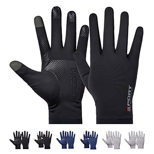 メンズグローブ 夏用 冷感 メンズ手袋 薄型・UVカット 滑り止め加工・タッチパネル対応 UVカット手袋 手触り良い 男女兼用 自転車 運転用 (ブラック)