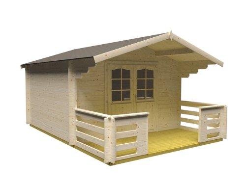 AS Palmako Gartenhaus Delbrück 34mm 3,50 m x 3,50 m + 150 cm Terrasse
