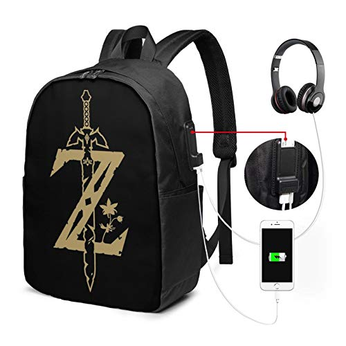 The Legend of Zel-Da 3D Printing 17in with USB Backpack,School Bag, Travel Bag, Mountaineering Bag