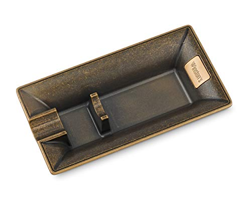 Winston's the Churchill Antique Bronze Cigar Ashtray, Durable with Cigar Holder