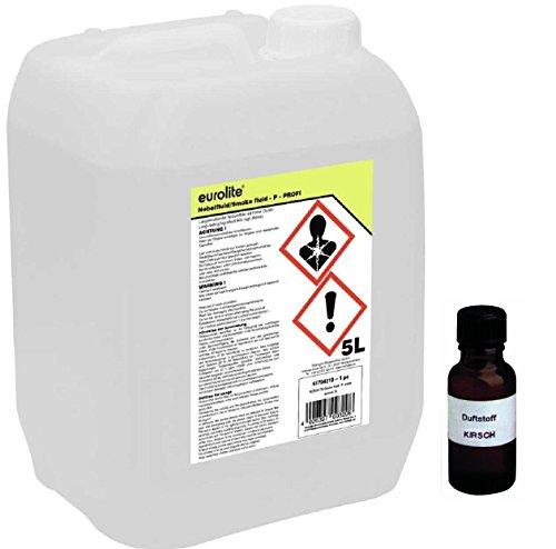 5 Liter Eurolite P (Profi) Nebelfluid + 30 ml Duftstoff Kirsche, Smoke-Fluid, Nebel-Fluid-Flüssigkeit für Nebelmaschine (5 L Fluid -P- + Duft Kirsche)