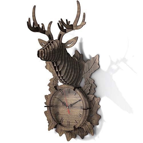 FunColl 3D Holzpuzzle Wanduhr Baukasten für Erwachsene und Kinder, DIY Wanduhr Elchuhr Geschenke Home Ornament (Elch, Walnussholz)