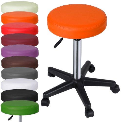 Miadomodo Sgabelli regolabili con ruote colore arancione set da 1
