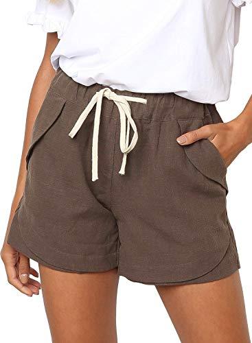 BLENCOT Women's Fashion Drawstring Elastic Waist Casual Solid Comfy Linen Beach Shorts Khaki M…