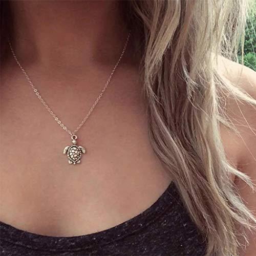 Aukmla Boho Colgante Collar Collares de tortuga de plata Cadena Accesorios de joyería para mujeres y niñas