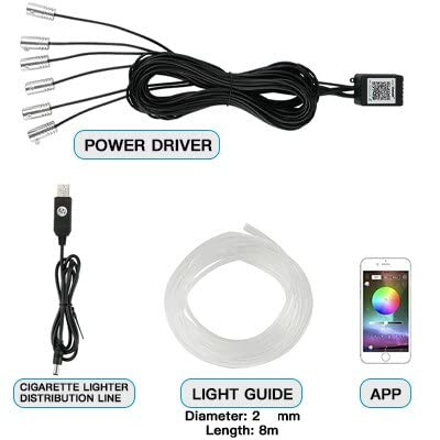 WM home Ambient Lights in The car Car Atmosphere Lights Neon Wire Strip Fiber Optic Light Auto Interior Decorative Ambient Lamp by APP Vehicle Accessories Decorative Lights in The car
