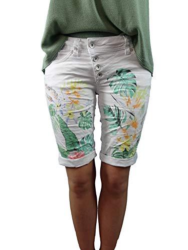 Buena Vista | Damen Sommer Shorts | Bermuda | Malibu | Stretch Twill | Kurze Hose zum krempeln | Knopfleiste (XS, floral printed)