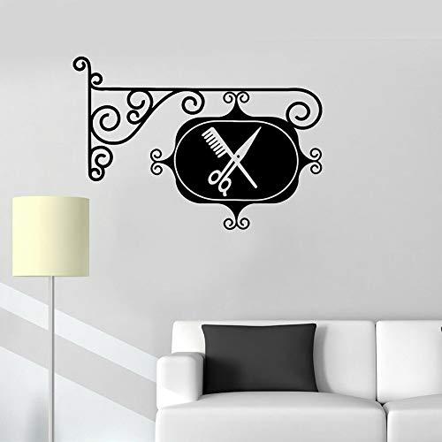 Peluquería signo etiqueta de la pared vinilo ventana calcomanías peluquería peluquería decoración de interiores tijeras peine mural