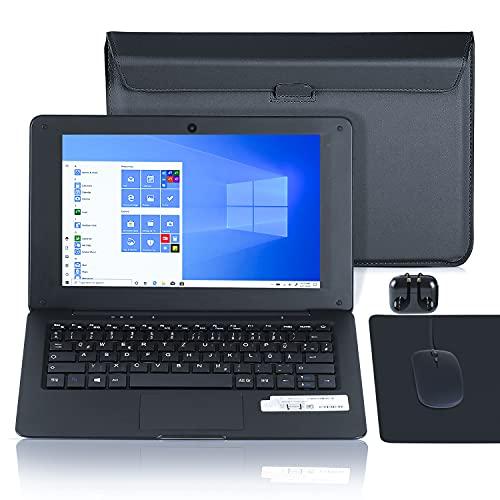 Laptop 10.1 Zoll Notebook , Windows 10 Quad Core Netbook Computer Netflix,YouTube,WiFi,HDMI, mit Laptoptasche, Maus, Mauspad, Kopfhörer (Schwarz)