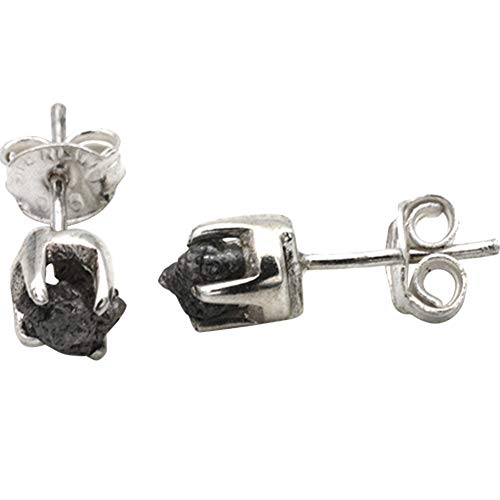 Rohdiamant Ohrstecker hochwertige Goldschmiedearbeit (Sterling Silber 925) Roh Diamant Ohrringe Rohsteine ungeschliffen Damen Herren Ohr Stecker