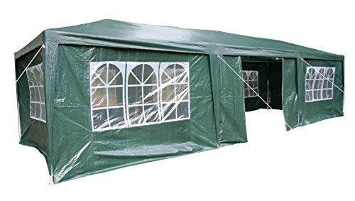 Esc Europe Ltd Airwave 3m x 9m Gazebo Party Tent Marquee Awning GREEN with Side Panels. 120g WATERPROOF Canopy and Powder Coated Steel Frame.