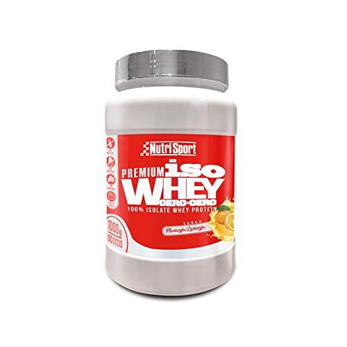 Nutrisport - Iso Whey 0.0 Premium, Proteínas 90% en Polvo, Isoladas, Sin Lactosa, Sin Azúcar, 1Kg, Sabor Naranja