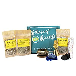 Altar Kit for Spiritual Cleansing: Loose Herbs for Burning - Mugwort Smudge, Black Sage, Offering Bowl with Brass Screen, Incense Crystal for Healing