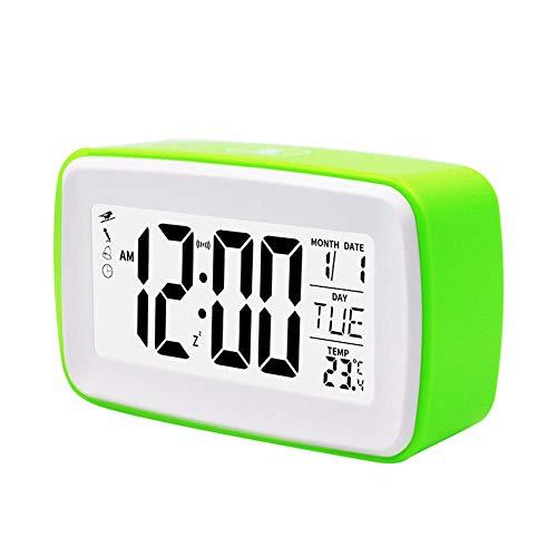 FPRW LED-Digitaluhr mit Schlummerfunktion, batteriebetriebene Großanzeige-Tischuhr, Stille Touch Control-Aufnahme, einfacher Wecker, Grün