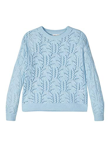 NAME IT Damen Strickpullover Lochmuster 134-140Dream Blue