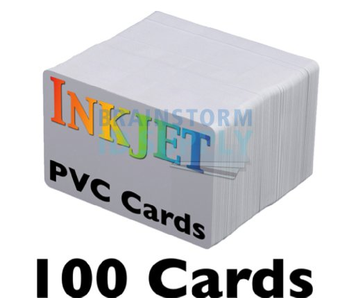 Inkjet PVC Cards (100 Pack) - Inkjet Printable PVC ID Cards with Brainstorm ID's Enhanced Ink Receptive Coating - Waterproof and Double Sided Printing - Works with Epson and Canon Inkjet Printers