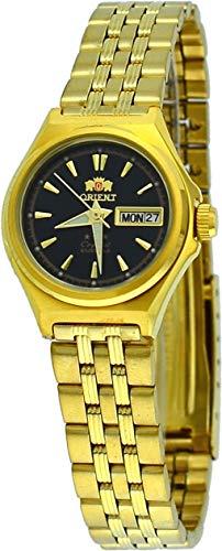 Orient # fnq1s001b mujeres del oro tono Tri Star negro Dial Automático Reloj