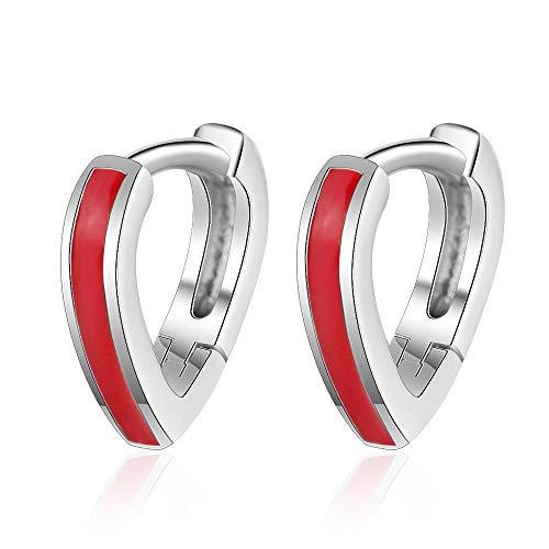 Pendientes Mujer Pendientes De Plata De Ley 925 con Forma De Corazón Rojo Pendientes De Regalo para Mujer