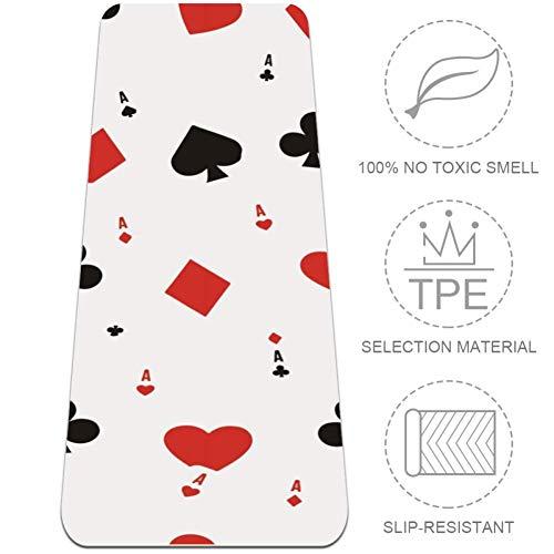 Eslifey Poker Cards A Sporting Goods - Esterilla de yoga antideslizante para pilates, fitness y entrenamiento