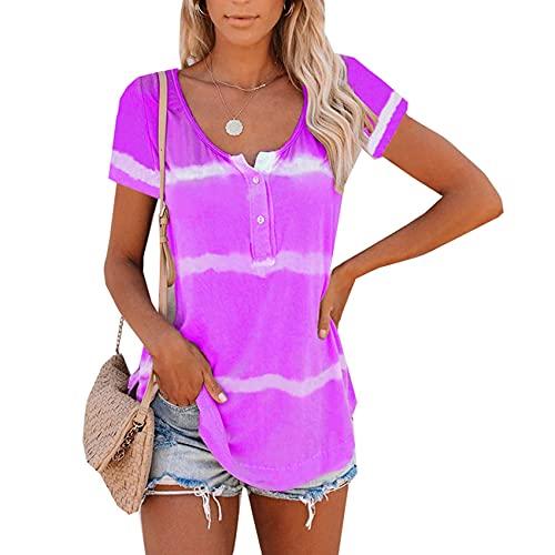RWXXDSN Dames V-hals knoop Tie-Dye Top korte mouwen bedrukt T-shirt - paars - 5XL