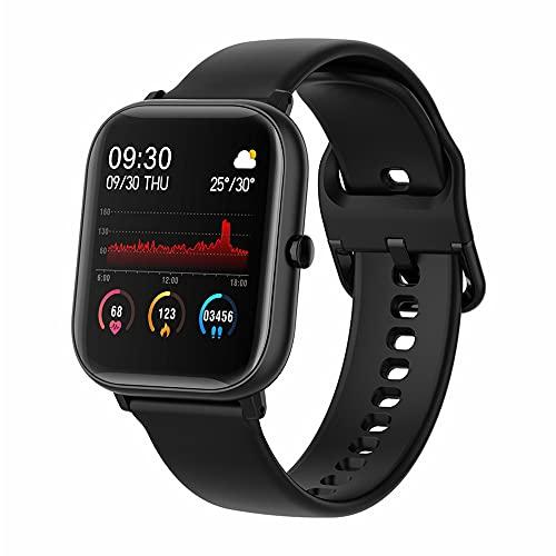Sitlos P8 SE 2020 1.4 Pulgadas Reloj Inteligente Modo Multi-Deporte táctil con SmartWatch Monitor de Ritmo cardíaco para iOS Android MingYuChangHu (Color : Black with Gold)