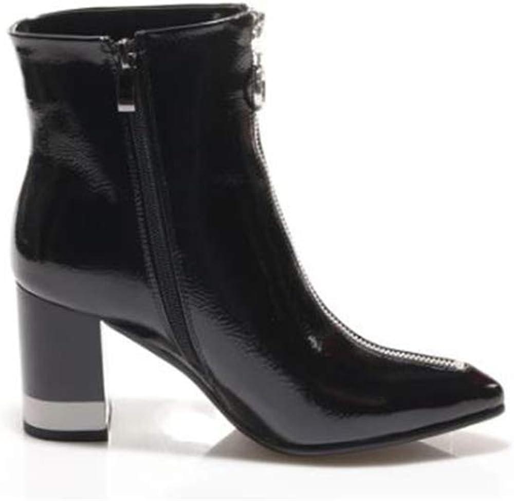 Laura biagiotti, scarpe da donna, tronchetti in pelle lucida per donna,taglia 38 eu 5825-NERO