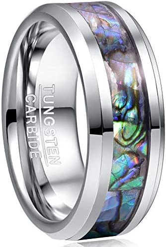 VAKKI 8mm Abalone Shell Tungsten Carbide Ring for Men Beveled Edge Engagement Band Size 10 product image