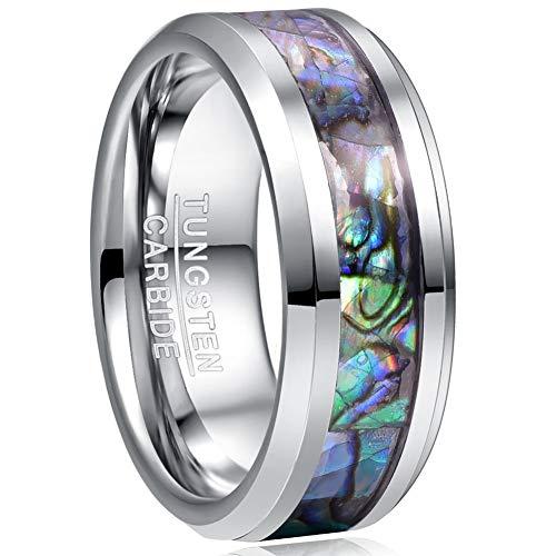 VAKKI 8mm Abalone Shell Tungsten Carbide Ring for Men Beveled Edge Engagement Band Size 10