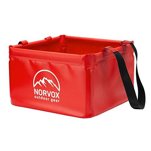 NORVOX Cuenco plegable para exteriores, cubo plegable para camping, 15 o 20 litros, universal, como recipiente para lavado, lavaplatos, cubo plegable o cubo de agua (rojo señal – 15 L)