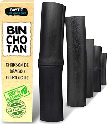 X5 Puissant Filtre à Eau Végétal au Charbon Actif de Bambou - Baton de Binchotan Bio - Purifier l' Eau du Robinet - Bois Naturel Carafe Bouteille Vrai Purificateur Verre Filtrante Écologique Cartouche