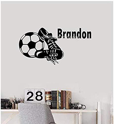 Muursticker,Voetbalschoenen aangepaste naam knappe voetbalschoenen decal gepersonaliseerde kinderkamer decor kunst behang 60 * 30
