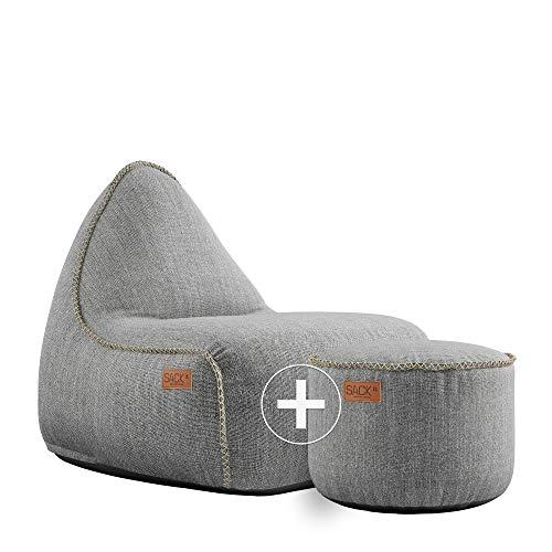 SACKit - RETROit Cobana Light Grey - Hellgrau Outdoor/Indoor Sitzsack & Sessel mit Lehne - Perfekt für die Lounge, draußen im Garten oder Balkon - Mit einem Hocker