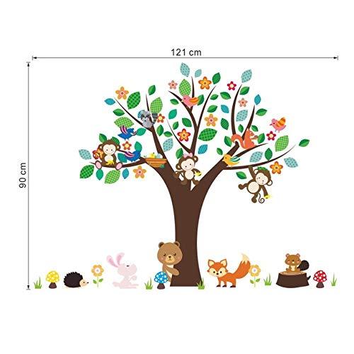 Waldtiere Affe Spielen Unter Blume Baum Wandaufkleber Für Kinder Baby Kindergarten Kinderzimmer Dekorationen Dekor Abziehbild 121 * 90 cm 121 * 90 CM A