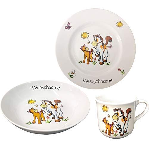 Doriantrade Kinder Frühstücksservice 3-TLG. Porzellan Tiermotive Teller Becher Schale personalisierbar mit Wunschname Name Kindergeschirr mit Namen personalisiert (Pferde)