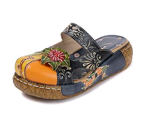 Damen Mokassins Slipper, Leder Sandalen Plattform Pantoffel Sommerschuhe Vintage Rückenfrei Clogs Bunte Blume Flache Schuhe Dicker Boden Strandschuhe (40, Blau)