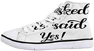 Engagement Party Decorations Comfortable High Top Canvas ShoesCartoon of Lovely Romantic Couple with Wedding Ring for Women Girls,US 5