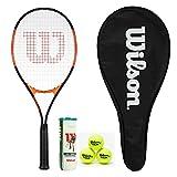 Wilson Burn Excel 112 Raquette de tennis avec housse pleine longueur et 3 balles Wilson Tour All Court