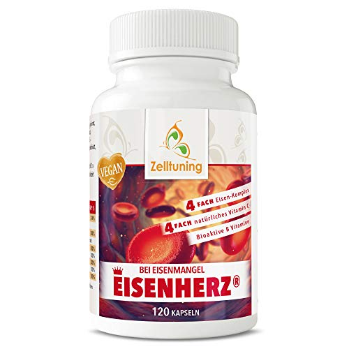Bei Eisenmangel EISENHERZ® von Zelltuning, 4 FACH Eisenkomplex, mit 4 FACH natürlichem Vitamin C, Folsäure (Folat) und bioaktiven B Vitaminen, B2, B6, B12 und Vitamin A.