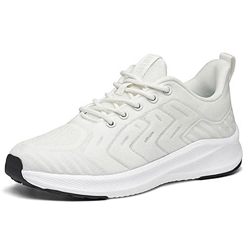Zapatillas Deportivas de Mujer Cordones Zapatos de Ligero Running Fitness Zapatillas de para Correr Antideslizantes Amortiguación Sneakers Blanco 39