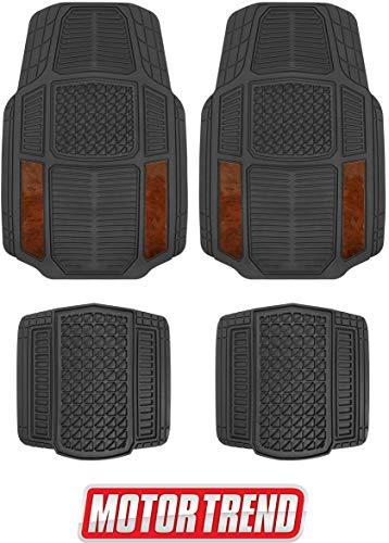 Armor-Tech All Weather Floor Mats, 4 Piece Set – Heavy Duty Rubber Liners for Car, Truck, SUV & Van (Wood Grain)