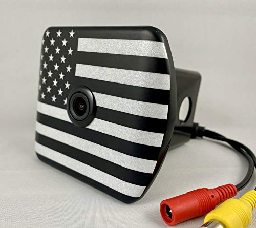 HitchVision Hitch Backup Camera ABS-Black & White Flag Rearview 170 Degree Angle, Cars/Trucks/Jeeps/SUV, Hitch Cover