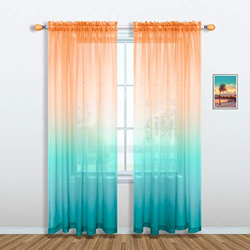 Orange and Teal Curtains 84 Inch Length for Living Room Decor Set 1 Single Window Sheer Panel Semi Voile Drapes Ombre Beach Curtains for Bedroom Dining Home Decoration Burnt Orange Turquoise Green