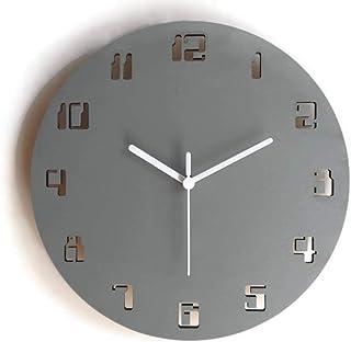 28cm Piccolo orologio da muro silenzioso con numeri digitali dei vecchi computer colorato come grigio sasso Particolari or...