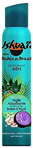 Ushuaïa - Déodorant Femme Atomiseur Bahia Do Brasil Argile Absorbante & Parfum Baie d'Açaï Efficacité 48h - 200 ml